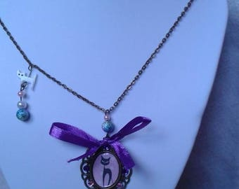 """necklace """"cabochon on the theme of the cat"""""""