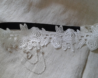 """headband """"applique floral white and pearls"""""""