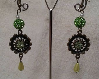 """harmony of bronze and green"" earrings"