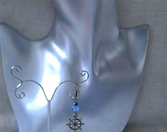 """Earrings """"beads and anchor blue"""""""
