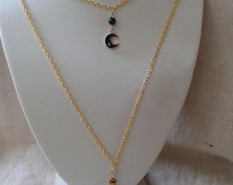 """Moon and black beads and gold"" necklace"