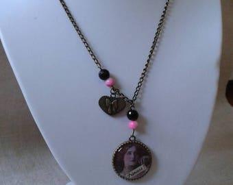 "bronze necklace ""cabochon retro princess"""