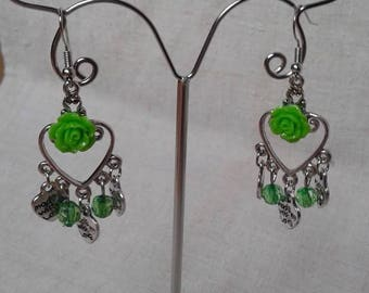 "Earrings ""marriage of the silver and green"""