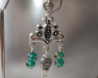 """Earrings """"connector and green freshwater pearls"""""""
