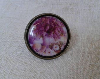 "ring ""bouquet of purple flowers"""