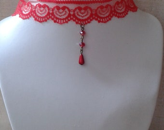 """""""red lace Ribbon and pearls"""" Choker necklace"""