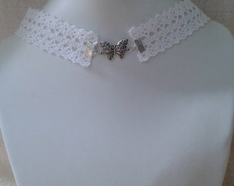 """""""white lace and Butterfly"""" Choker necklace"""