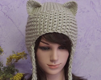 Crochet Cat Ears Hat, Cat Ears Beanie, Hat with Ears, Cat Ears, Pom Poms Hat, Winter Accessories, Holiday Fashion, Winter Hat