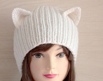Realistic cat ears, Cat Ears Hat, Cat Ears Beanie, White Cat Beanie, Chunky Cat Hat, Winter Accessories, Holiday Fashion, Winter Hat