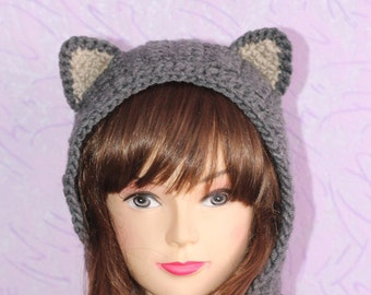 Crochet Cat Ears Snood, Cat Ears Snood, Gray Cat Snood, Snood with Ears, Winter Accessories, Holiday Fashion, Winter Hat