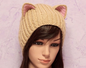 Crochet Cat Ears Hat, Cat Ears Beanie, Beige Cat Beanie, Chunky Cat Hat, Winter Accessories, Holiday Fashion, Winter Hat