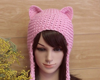 Pink Cat Hat, Cat Ears Beanie, Pink Cat Beanie, Hat Pom Poms, Pink Hat, Holiday Fashion, Winter Hat