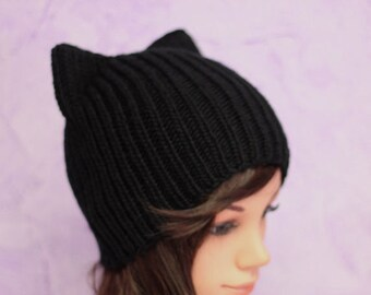 Crochet Cat Ears Hat, Cat Ears Beanie, Black Cat Beanie, Chunky Cat Hat, Winter Accessories, Holiday Fashion, Winter Hat