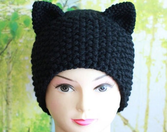 Crochet Cat Ears Hat, Cat Ears Beanie, Cat Hat with Ears, Ears Beanie, Winter Accessories, Holiday Fashion, Winter Hat