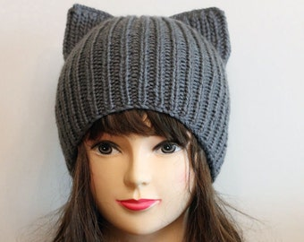 Crochet Cat Ears Hat, Cat Ears Beanie, Gray Cat Beanie, Chunky Cat Hat, Winter Accessories, Holiday Fashion, Winter Hat