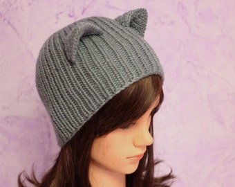 Gray cat ears hat, Cat Ears, Crochet cat hat, Kitty ears, Crochet beanie, Gray Cat Hat, Gray Cat Beanie, Winter Accessories, Winter Hat