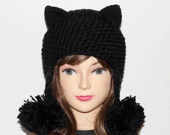 Crochet Cat Ears Hat, Cat Ears Beanie, Black Cat Beanie, Hat Pom Poms , Winter Accessories, Holiday Fashion, Winter Hat
