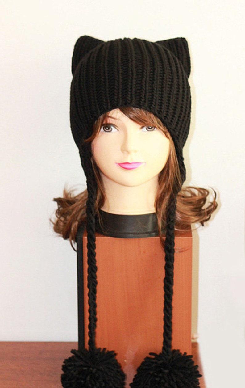 d1a36474eac Crochet Cat Ears Hat Cat Ears Beanie Black Cat Beanie Hat