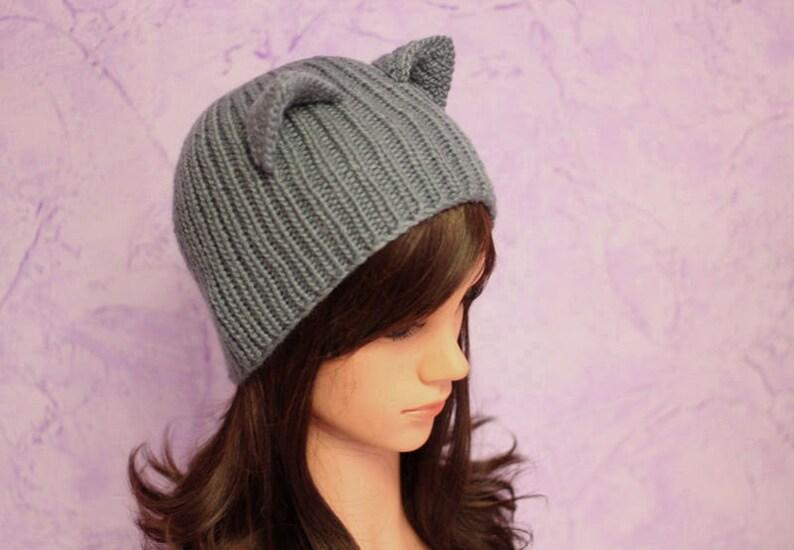 19aa9f35cb1 Realistic Cat Ears Hat Ready to ship Gray Cat Ears Knit