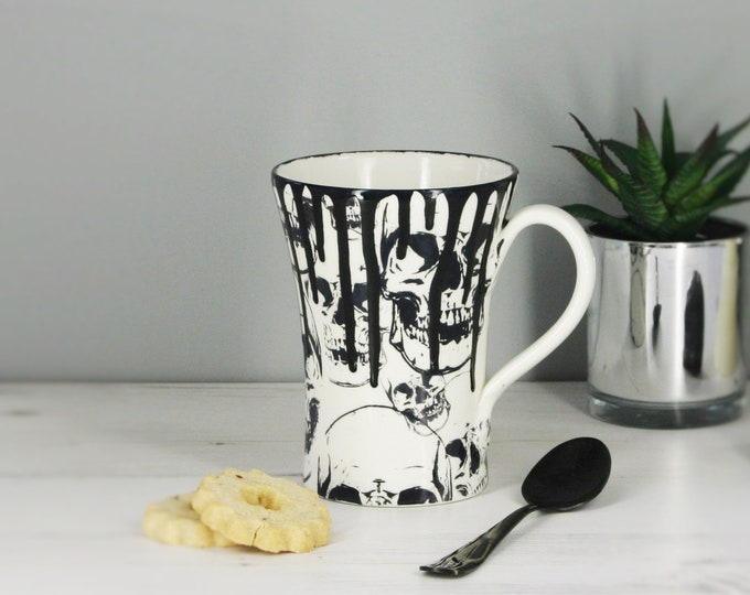 Giant Skull Mug, Goth Coffee Gift, Gothic Home, Anatomy Tea Cup, Alternative Housewarming Gift,Massive Mug, Weird Wonderful, Ceramic Cup