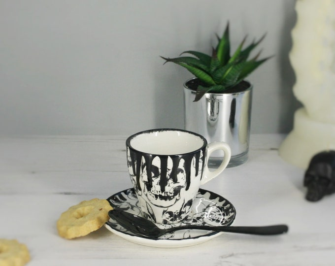 Espresso cup, Tea cup saucer, skull drip design, gothic skulls, small mug, small slanted handle, weird and wonderful, hand painted ceramic