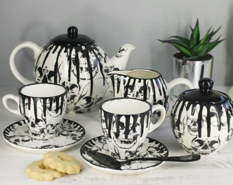 Skull Tea Set, Gothic Ceramic Teaset, Goth Cup Saucer, Milk Jug, Skulls Teapot, Tea Coffee, Afternoon Lunch, Weird And Wonderful, Sugar Pot