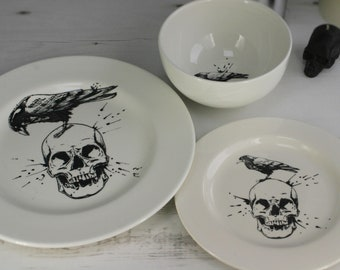 Skull dinner set hand painted item black skulls ceramic