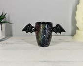 Galaxy Bat Mug, Bats Wings Cup, Astronomy Space Design, Unique Gift, Hand Painted, Gothic Present, Cute Winged Handle, Weird and Wonderful