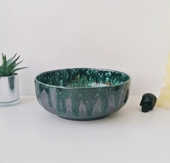 Unique Large Fruit Dish Special Crystal Glaze Salad Bowl housewarming gift bespoke Kitchen storage Weird Wonderful Pasta serving bowl