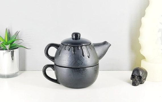 Goth Black Gloss Kettle Spider Web Teapot Matte Gothic Gift Satin Tea Pot Weird Wonderful Hand Painted Ceramic Unique Kitchen Present