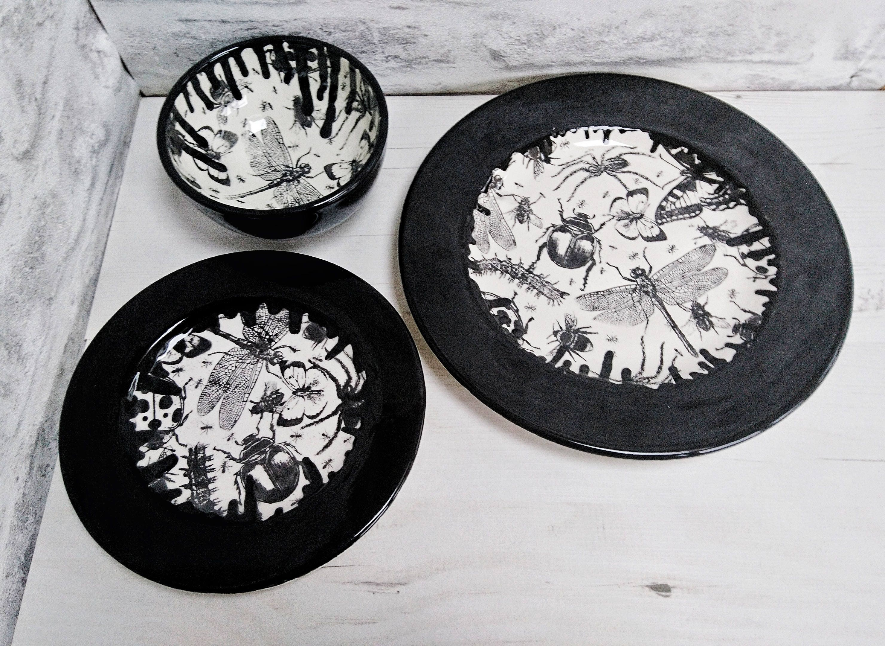 Unique dinner set Hand Painted 3 Piece Bug Dinner plates