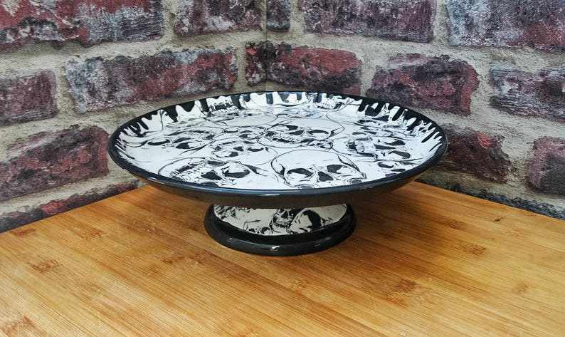 Skull cake stand Hand painted ceramic Pedestal Gothic gift Large plate Skulls base and plate Pizza platter weird and wonderful