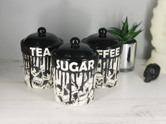 Skull Storage Canisters Tea Coffee Canister Sugar Jars | Etsy