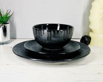 Spiderweb Dinner Set, Matte Black Web, Gothic Lunch, Alternative Plate, Goth Bowl, Hand Painted Ceramic, Unique Gift, Weird Wonderful