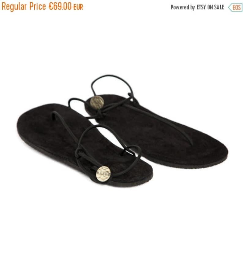 8f9df757e5e2 Black Handmade Flat Sandals Summer sandals Leather sandals