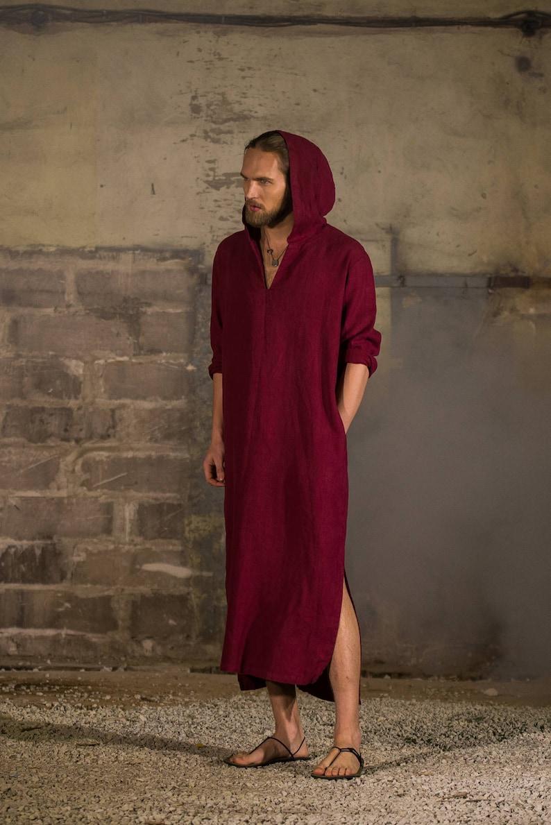 Men s red hooded linen caftan Linen tunic Linen hooded  c3b4cdac4
