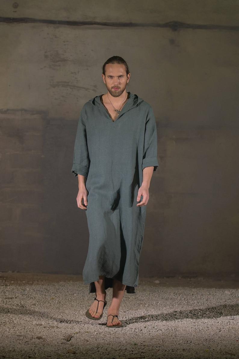 Men s olive hooded linen caftan Linen tunic Linen hooded  adaeb4dbe