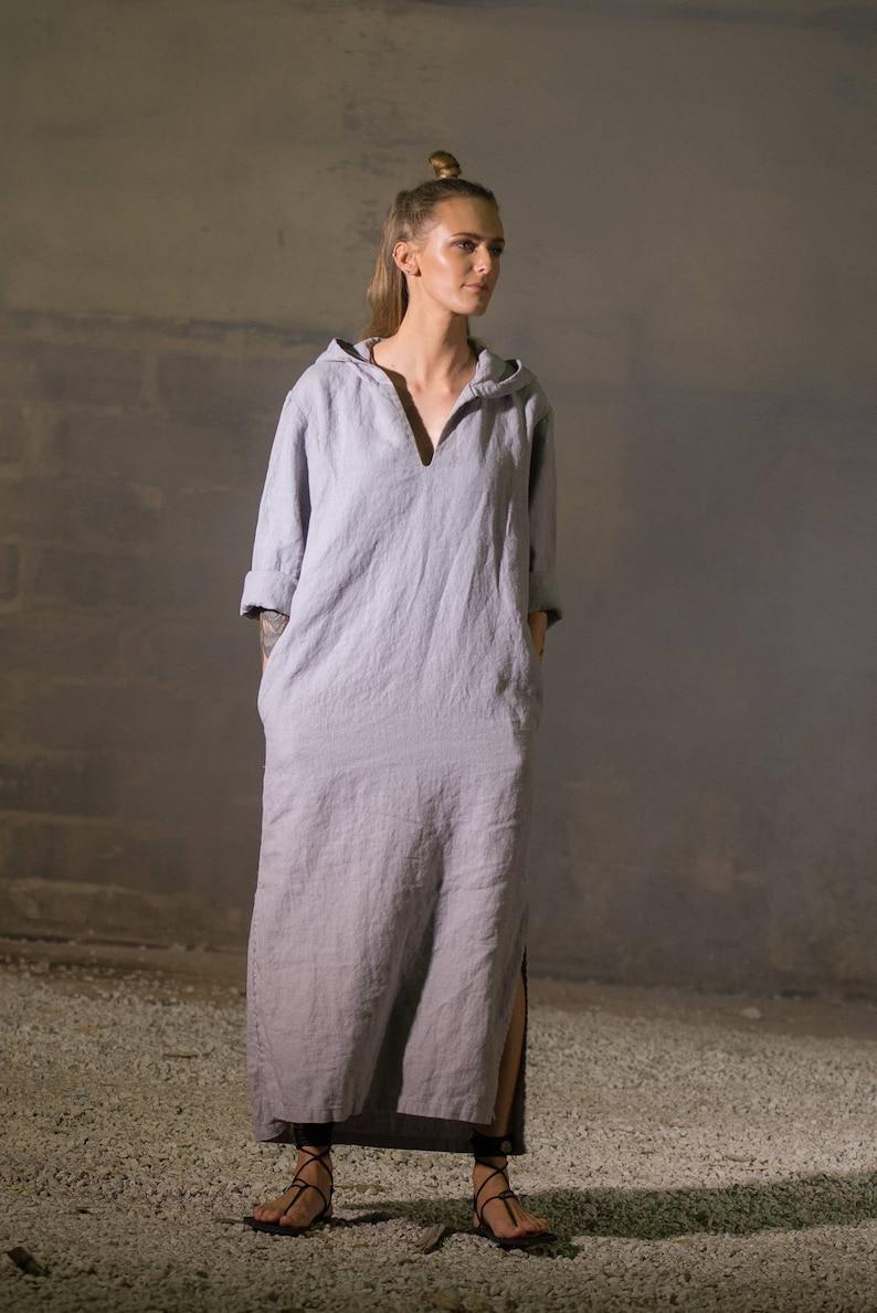 Women s light gray linen caftan women s kaftan Linen  3c7358daf