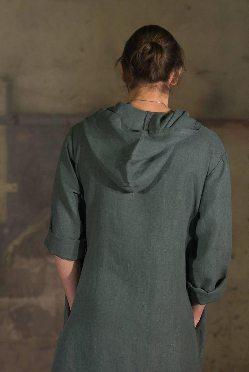 49f9204758b Men's olive hooded linen caftan Linen tunic Linen hooded   Etsy