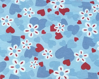 Blue and Red Hearts on Blue Cotton Jersey