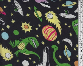 Space and Dinosaurs Cotton Jersey