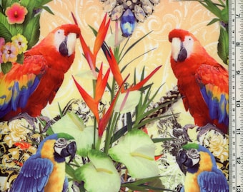Tropical Parrots Colorful Swimsuit Fabric