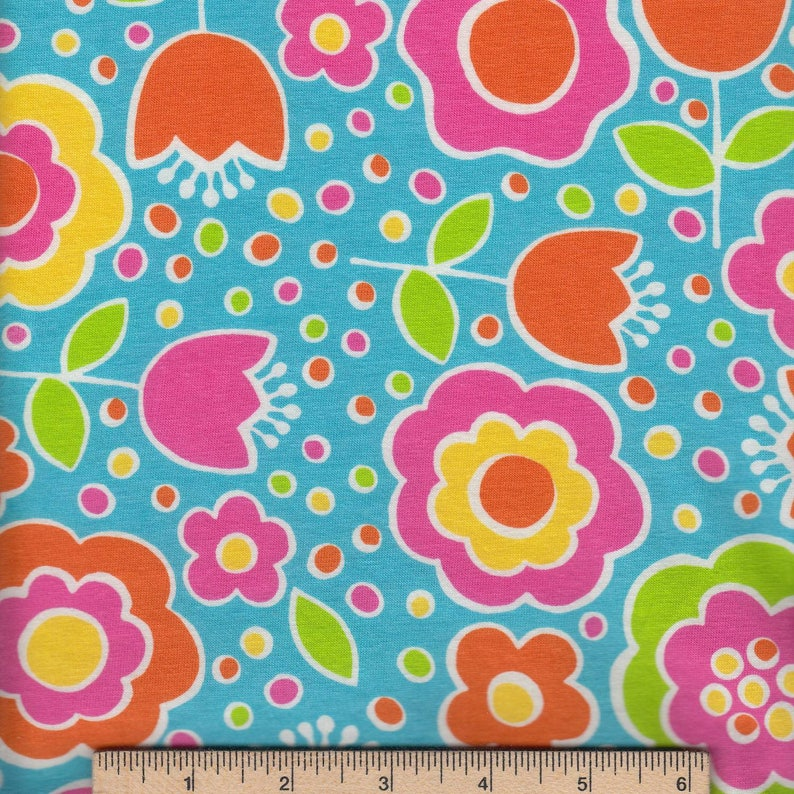 Multicolor Flowers Cotton Lycra Fabric
