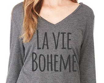 Rent The Musical, LA VIE BOHEME, Broadway Gift, Womens Long Sleeve, Broadway Show Shirt, Rent Lyrics Tee, Off the Shoulder Tee, Gift for Her