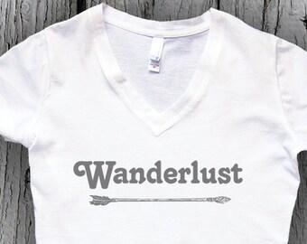 WANDERLUST SHIRT, Womens V-Neck, Arrow Tshirt, Boho tshirts, Gift for for her, Yoga Top, Workout Top, Hiking Top, Camping Shirt, Ladies Tees