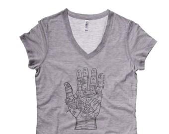 Occult Tshirt, Palmistry shirt, Womens V-Neck, Palm Reading t-shirt, Birthday Gift for Her, Gift for Mom, Tarot Illustration, Psychic tshirt