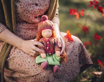 Waldorf doll Art doll OOAK green-eyed doll with ginger curly hair Red haired Rag organic collectible doll