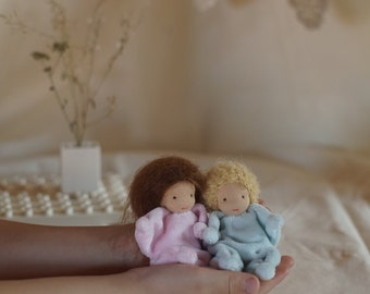 Small Waldorf doll Baby first birthday gift doll set