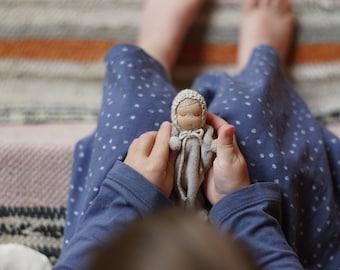 Small Waldorf doll Apalípalka 3.5 inch Dollhouse miniature baby doll