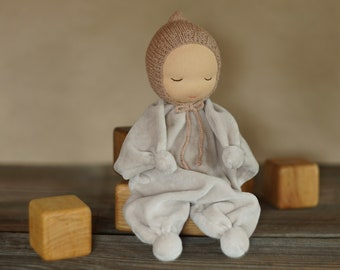 Waldorf doll First soft baby doll Organic gender neutral baby toys Handmade cute rag doll